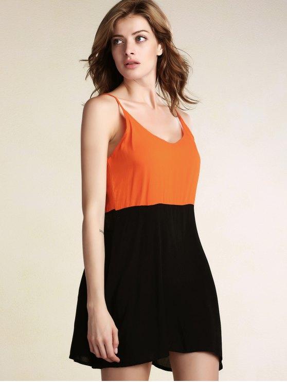 Color Block Backless Cami Sleeveless Dress - BLACK XL Mobile