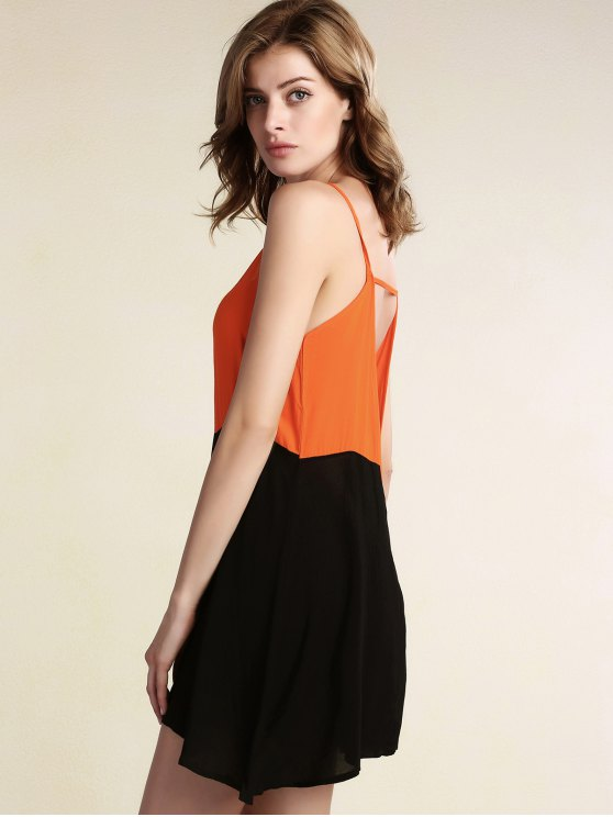 Color Block Backless Cami Sleeveless Dress - BLACK S Mobile