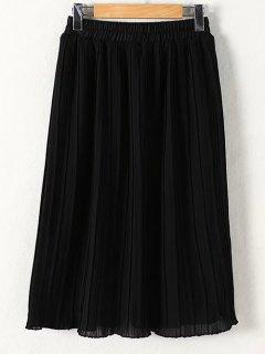 Pleated Solid Color Elastic Waist Skirt - Black Xl