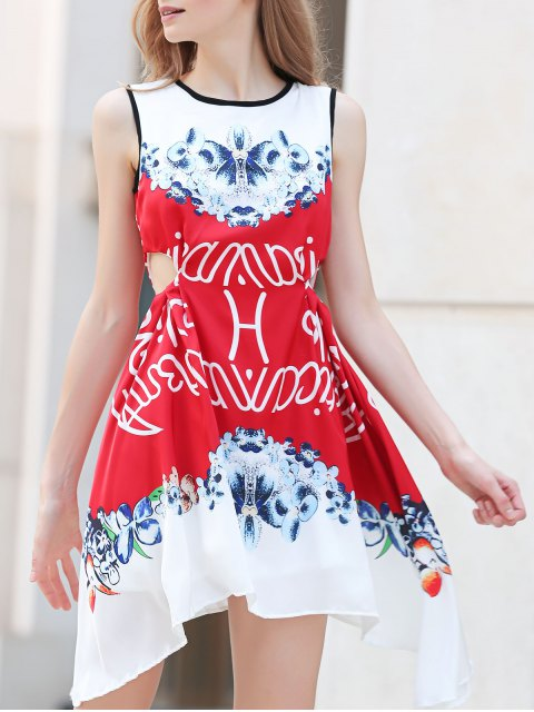ladies Floral Round Neck Sleeveless A Line Dress - RED L Mobile