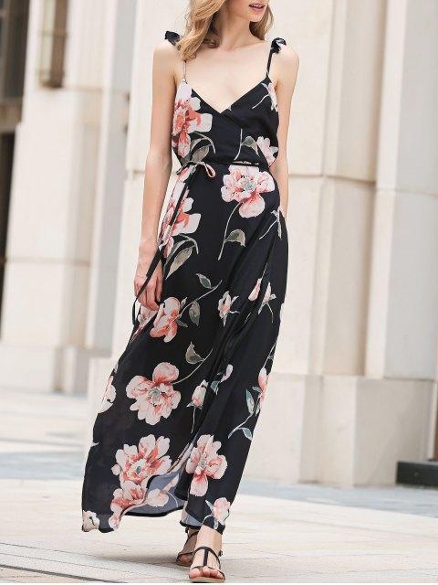 shop Spaghetti Strap Low Cut Floral Maxi Dress - BLACK S Mobile