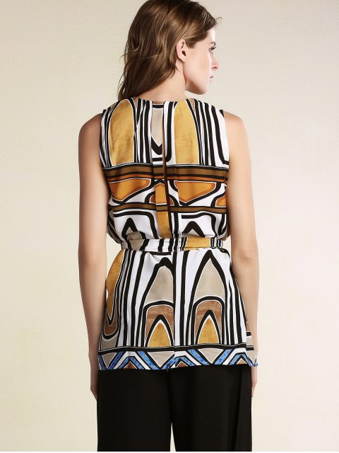 trendy Geometric Pattern Round Neck Sleeveless Dress - COLORMIX L Mobile