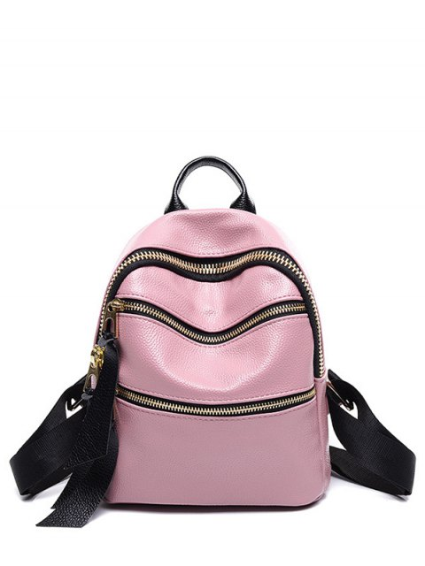 ladies Zippers Solid Color PU Leather Satchel - PINK  Mobile