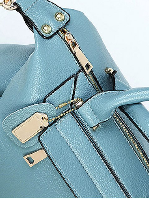 shops PU Leather Solid Colour Tote Bag - BLUE  Mobile