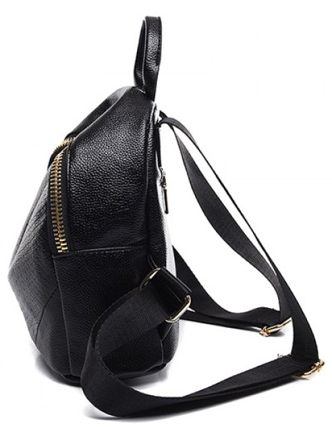 fancy Embossing Zip PU Leather Satchel - BLACK  Mobile