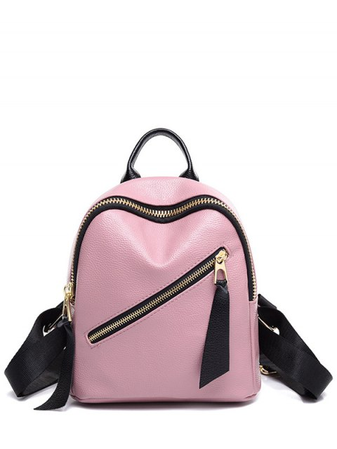 buy PU Leather Zipper Solid Color Satchel - PINK  Mobile