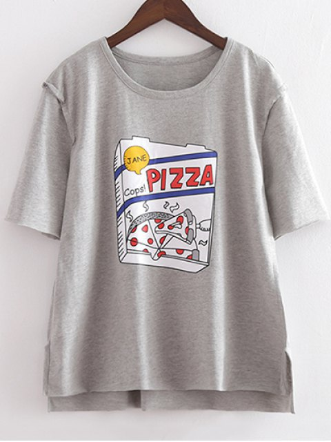 latest Character Round Neck Short Sleeve Loose Tee - LIGHT GRAY M Mobile