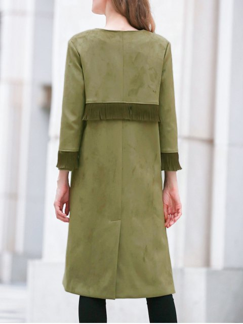 outfits Fringed Round Neck Suede Coat - ARMY GREEN M Mobile