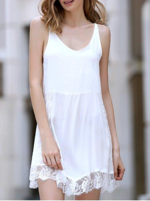 women Lace Spliced Plunging Neck Irregular Hem Dress - WHITE L Mobile