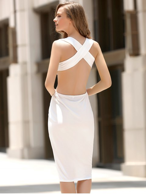 women's Convertible Open Back Plunging Neck Sleeveless Dress - WHITE S Mobile