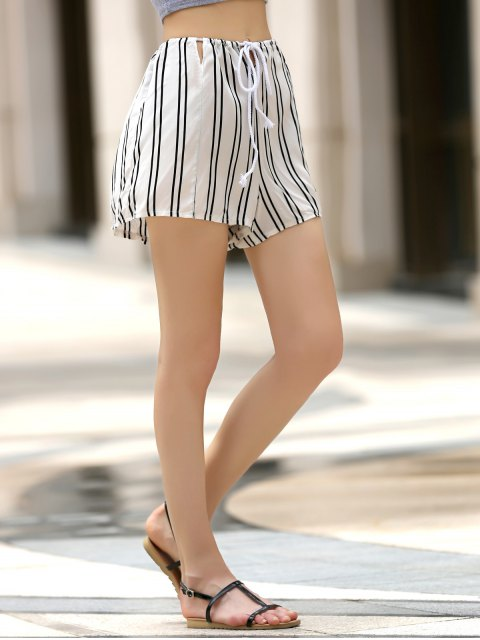 women Loose Striped Cut Out High Waist Shorts - WHITE M Mobile