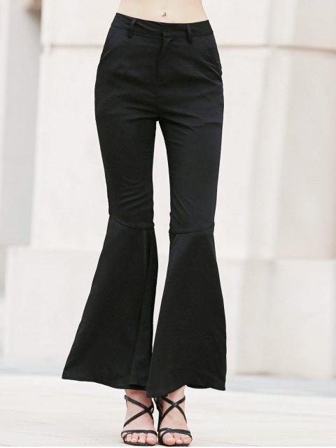 fashion Solid Color Bell Bottom Pants - BLACK L Mobile