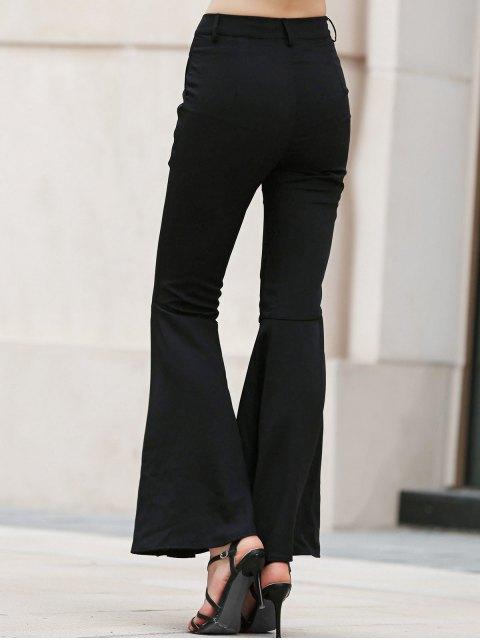trendy Solid Color Bell Bottom Pants - BLACK M Mobile