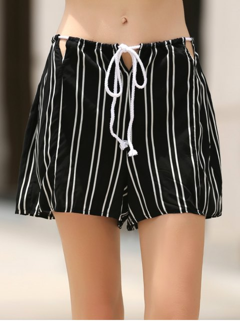 ladies Loose Stripes Cut Out High Waist Shorts -   Mobile