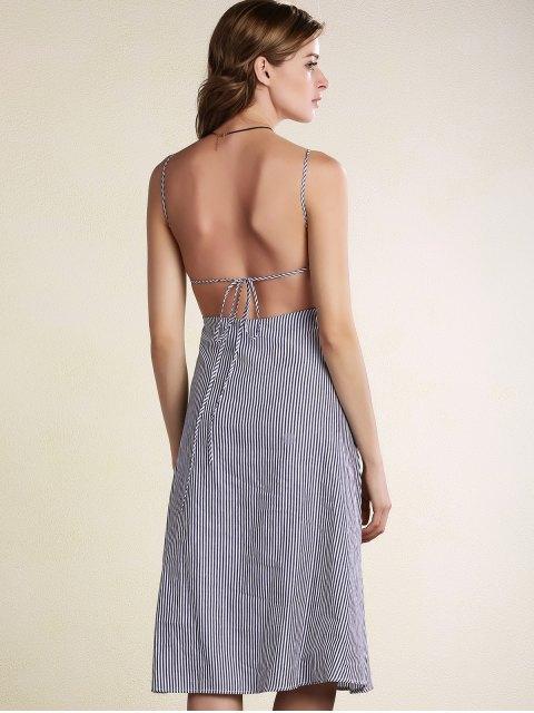 shop Striped Spaghetti Straps Backless Dress - LIGHT BLUE M Mobile