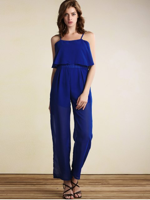 hot Overlayed Wide Leg Jumpsuit - BLUE XL Mobile
