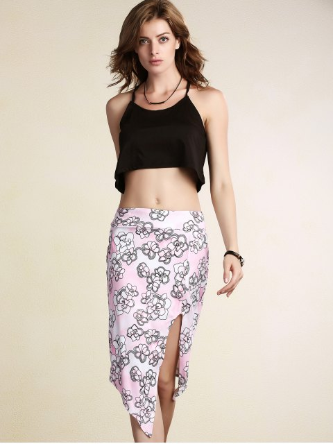 unique Printed Pencil Slit Skirt - PINK XL Mobile