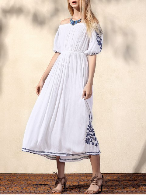 hot Embroidery Off The Shoulder Half Sleeve Dress - WHITE M Mobile