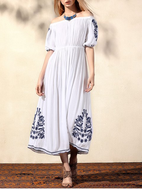 outfit Embroidery Off The Shoulder Half Sleeve Dress - WHITE S Mobile