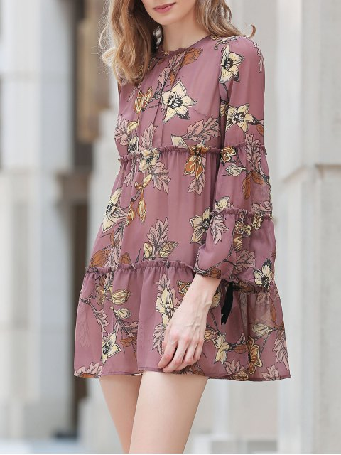 latest Printed Round Collar Long Sleeve Loose Dress - DUN M Mobile