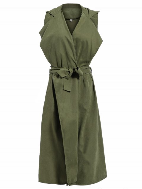 new Lapel Belted Overlay Waistcoat - ARMY GREEN XL Mobile