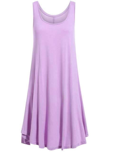 buy Irregular Hem Scoop Neck Sundress - PURPLE S Mobile