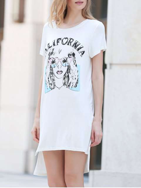 shops Printed Casual Round Collar Short Sleeve Dress - WHITE L Mobile