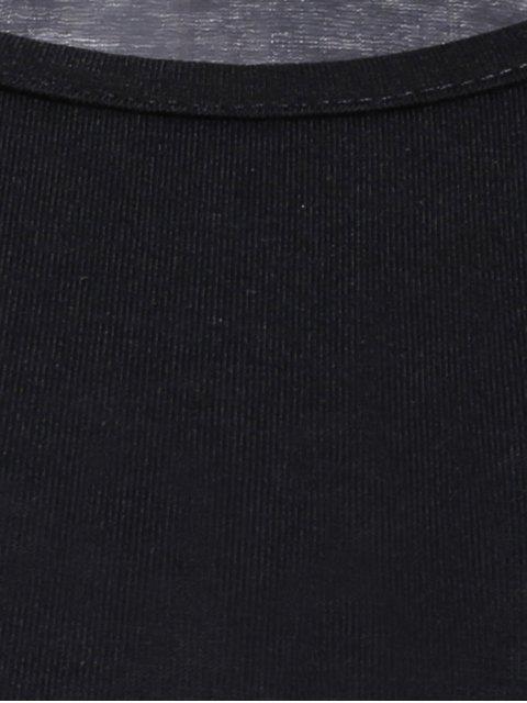 womens Solid Color Irregular HemRound Neck Flare Sleeve  Dress - BLACK S Mobile