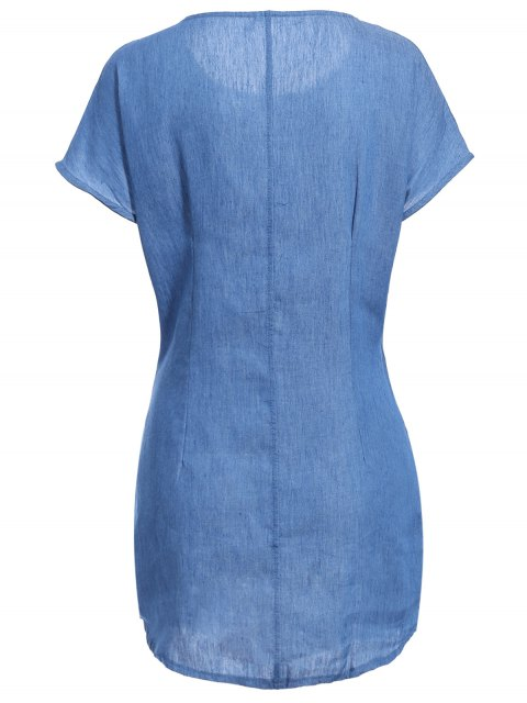 trendy Solid Color Tied Round Neck Bat-Wing Sleeve Denim Dress - DEEP BLUE XL Mobile