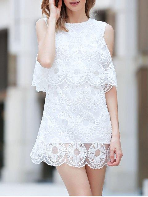 best Cold Shoulder Flouncing Lace Overlay Dress - WHITE M Mobile