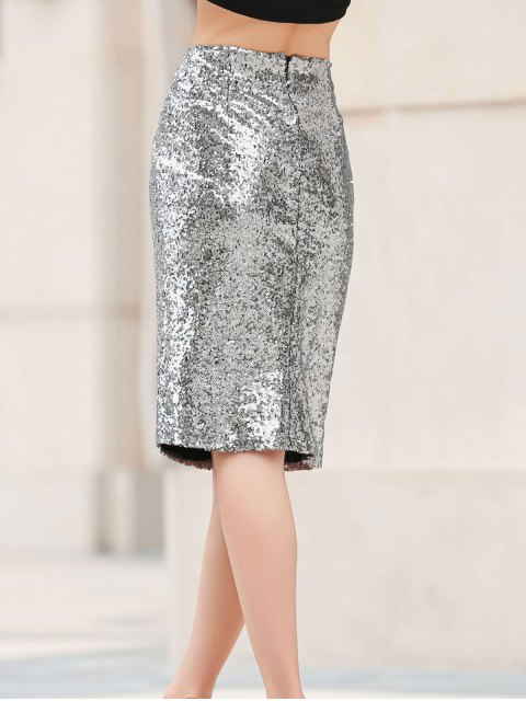shop Sequins Packet Buttock Bodycon Skirt - SILVER L Mobile
