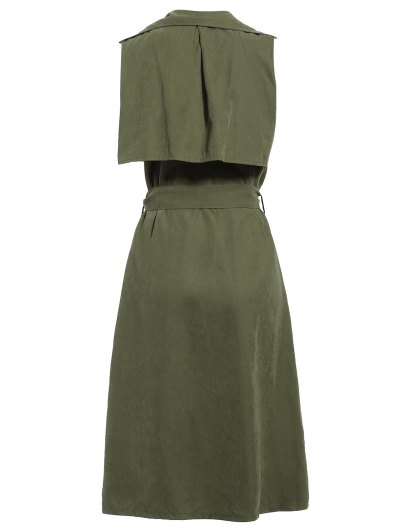 Lapel Belted Overlay Waistcoat - ARMY GREEN M Mobile