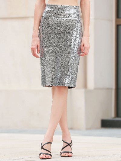 Sequins Packet Buttock Bodycon Skirt - SILVER M Mobile