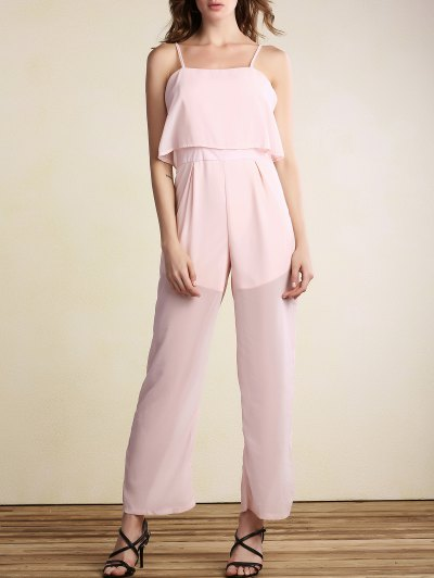 Overlayed Wide Leg Jumpsuit - PINK M Mobile