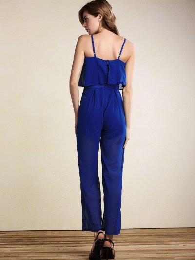 Overlayed Wide Leg Jumpsuit - BLUE XL Mobile