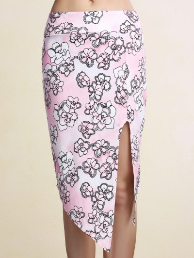 Printed Pencil Slit Skirt - PINK XL Mobile