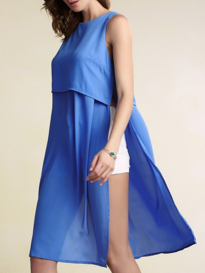 Round Neck Solid Color High Slit Chiffon Tank Top
