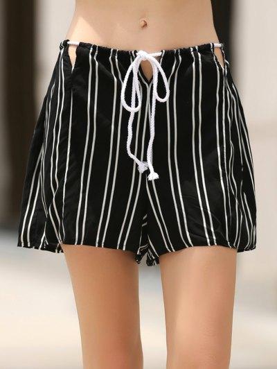 Loose Stripes Cut Out High Waist Shorts - Black