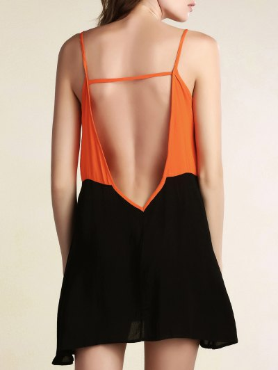 Color Block Backless Cami Sleeveless Dress - BLACK L Mobile