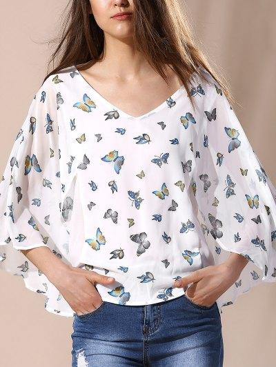 Elegant Butterfly Printing  Blouse - Milk White