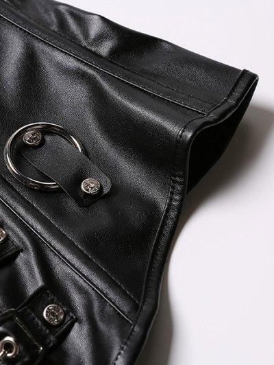 Retro Style Rivet Patchwork Corset - BLACK 3XL Mobile