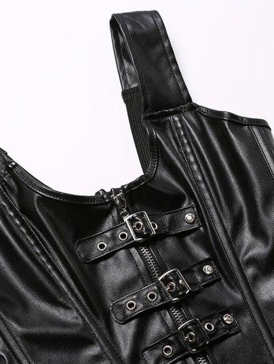 Retro Style Rivet Patchwork Corset - BLACK S Mobile