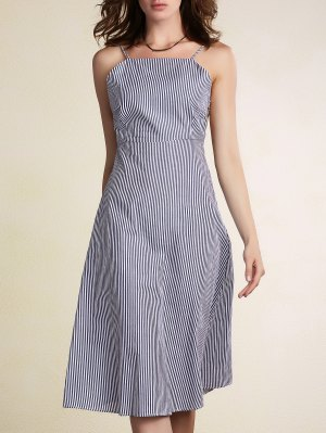 Striped Spaghetti Straps Backless Dress - Light Blue