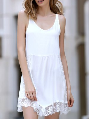 Lace Spliced Plunging Neck Irregular Hem Dress - White