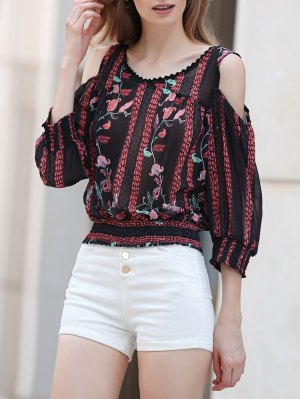 Cut-Out Floral Print Round Neck Long Sleeve Blouse - Cadetblue