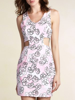 Cut-Out Printed Bodycon Dress - Pink