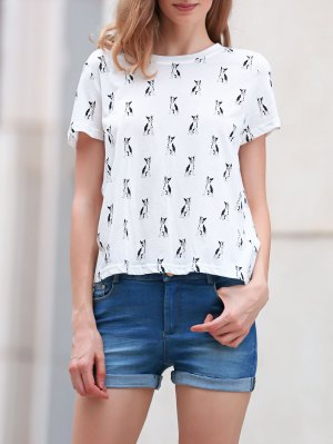Full Kitten Print Round Neck Short Sleeve T-Shirt - White