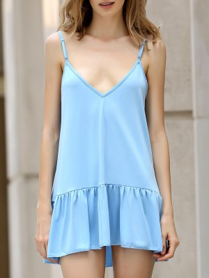 Light Blue Cami Backless Dress - Light Blue