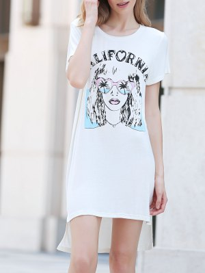 Printed Casual Round Collar Short Sleeve Dress - White