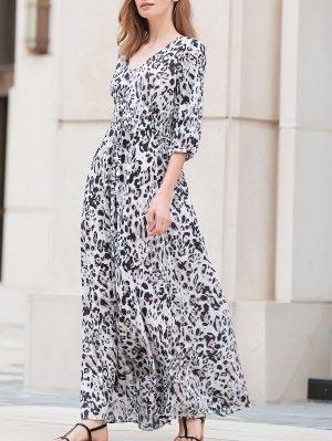 Leopard Print V-Neck 3/4 Sleeve Maxi Dress - Leopard